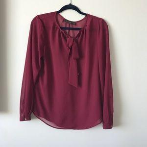 Maroon bow blouse